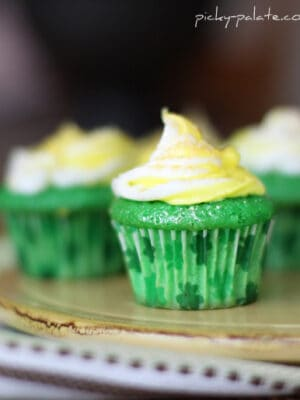 A Green Velvet Cupcake with Cream Cheese Icing