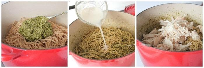 preparing spaghetti