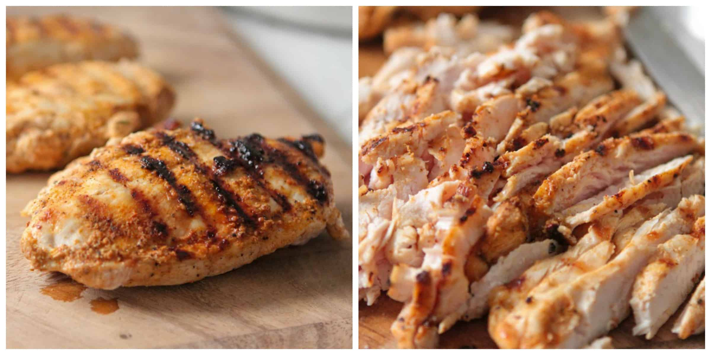 · Rinse chicken breasts under cold water and pat dry. Rub chicken with olive oil and season all over with salt and fresh ground black pepper. Preheat grill and prepare it for direct-heat grilling over medium heat.