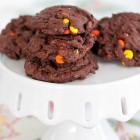 Reeses Pieces Double Chocolate Chunk Cookies