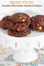 Reeses Pieces Double Chocolate Chunk Cookies by Picky Palate