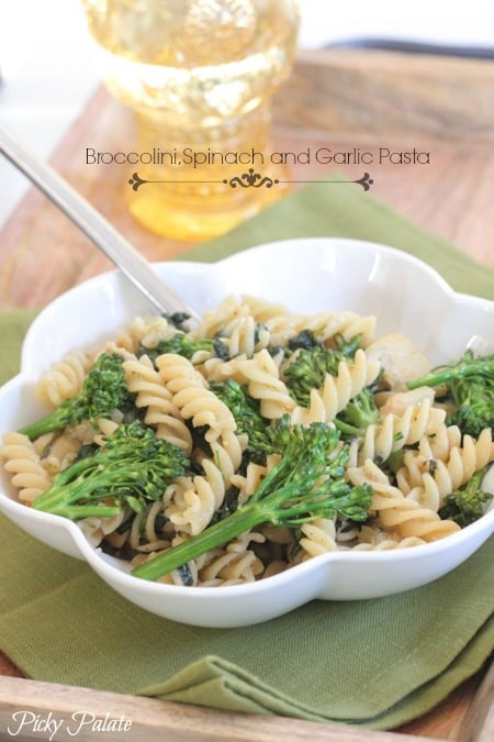 Broccolini Spinach and Garlic Pasta by Picky Palate