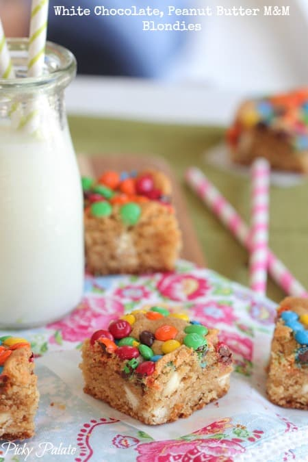 White Chocolate Peanut Butter M and M Blondies by Picky Palate
