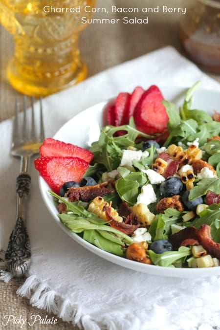 Charred Corn, Bacon and Berry Summer Salad by Picky Palate