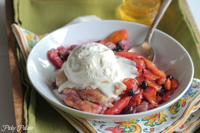 Homemade Peach Berry Cobbler by Picky Palate