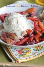 Homemade Peach Blueberry Cobbler