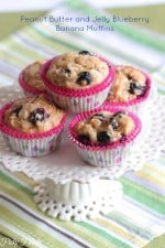 Peanut Butter and Jelly Blueberry Banana Muffins by Picky Palate