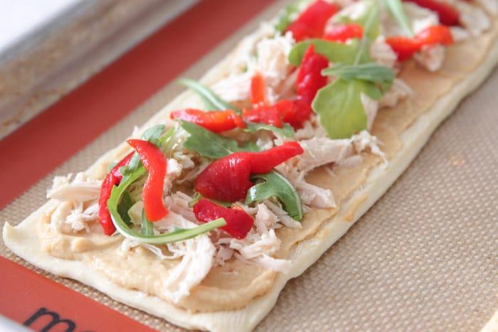 Cheesy Chicken Arugula Hummus Tarts-10
