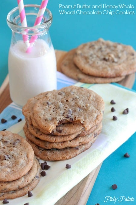 Peanut Butter and Honey Whole Wheat Chocolate Chip Cookies-16t