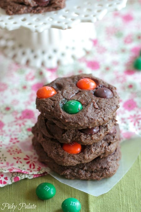 Chocolate Pumpkin Spice M and M Cookies by Picky Palate