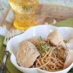 Slow Cooker Honey Dijon Chicken Over Garlic Pasta