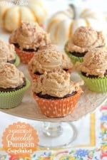 Two Ingredient Chocolate Pumpkin Cupcakes by Picky Palate