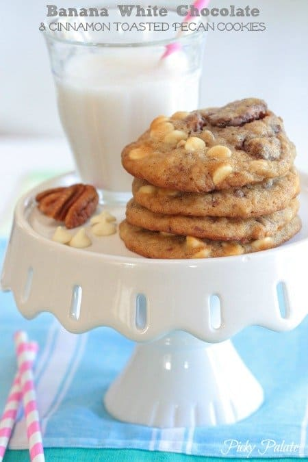 Banana White Chocolate Chip and Cinnamon Toasted Pecan Cookies by Picky Palate