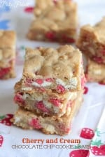 Cherry and Cream Chocolate Chip Cookie Bars by Picky Palate