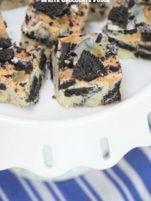 Oreo Peanut Butter Swirl White Chocolate Fudge by Picky Palate
