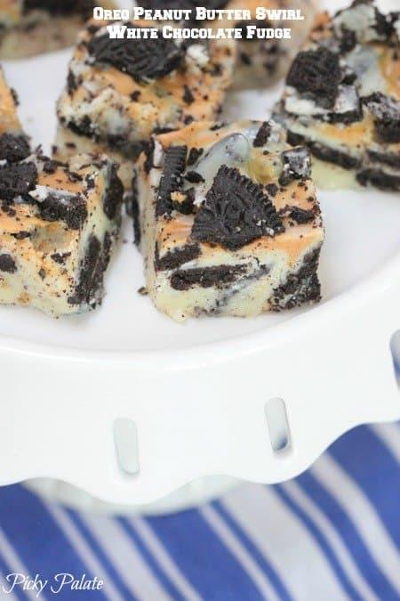 Oreo Peanut Butter Swirl White Chocolate Fudge by Picky Palate