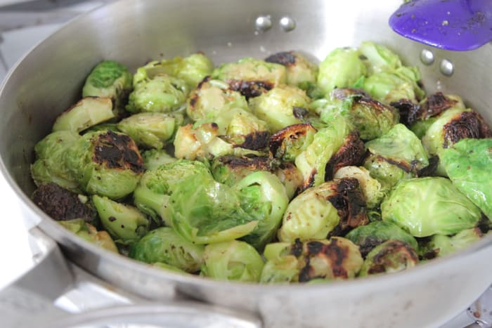 Gorgonzola Almond and Pear Roasted Brussel Sprouts-6