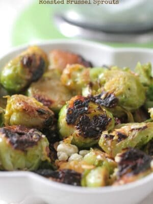 Gorgonzola Almond and Pear Roasted Brussel Sprouts