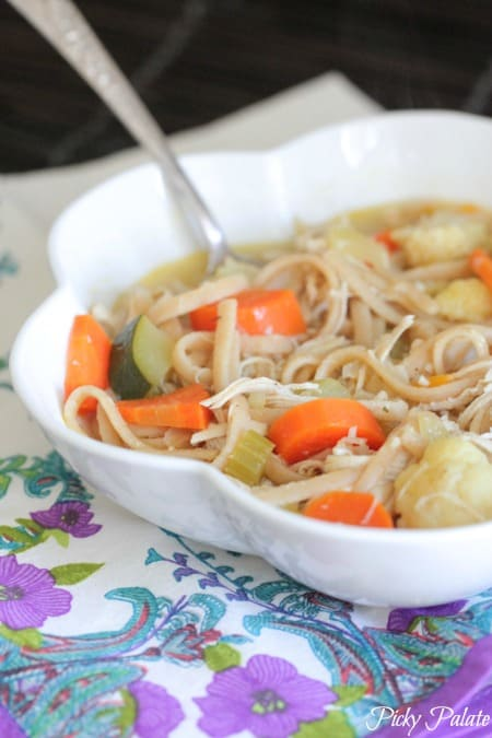 Classic Chicken Noodle Soup with Roasted Vegetables 3