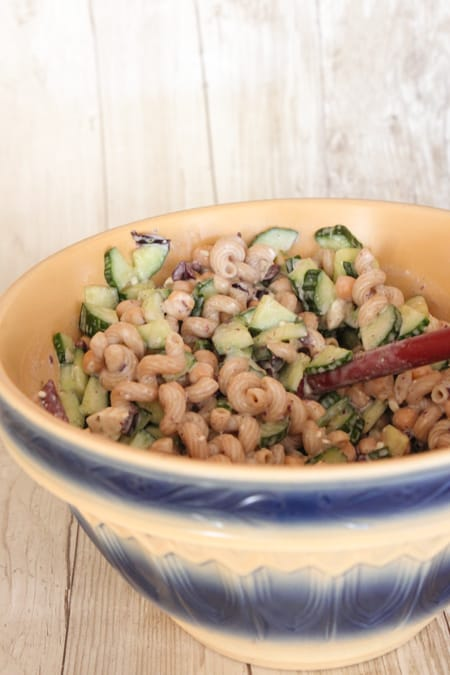 Creamy Feta Greek Style Cucumber Pasta Salad-9