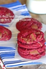 Malt Ball and Chocolate Chunk Red Velvet Cookies