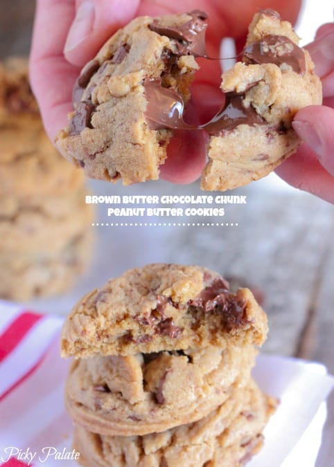 Brown Butter Chocolate Chunk Peanut Butter Cookies - Picky Palate