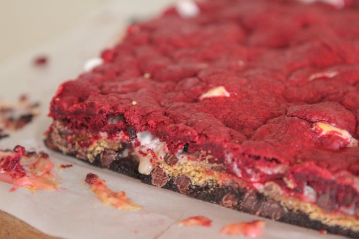 Brownie Red Velvet Gooey S'mores Bars-20