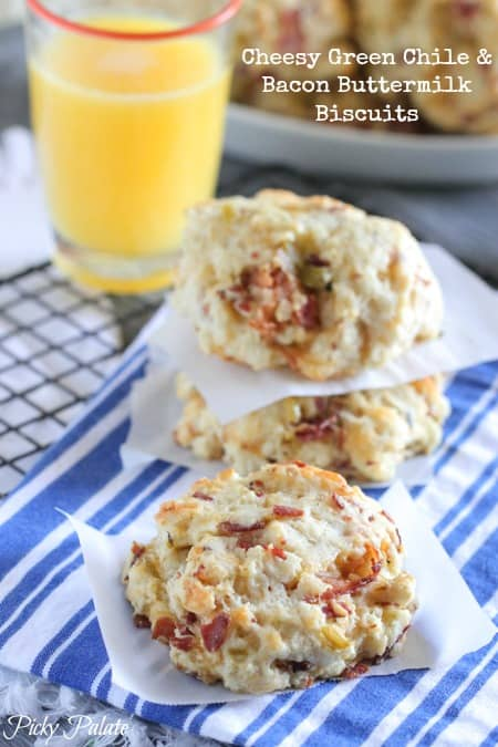 Cheesy Green Chile and Bacon Buttermilk Biscuits
