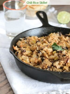 Chicken and Black Bean Green Chili Rice Skillet