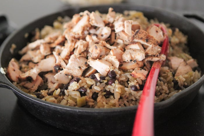 Chicken and Black Bean Green Chili Rice Skillet-8