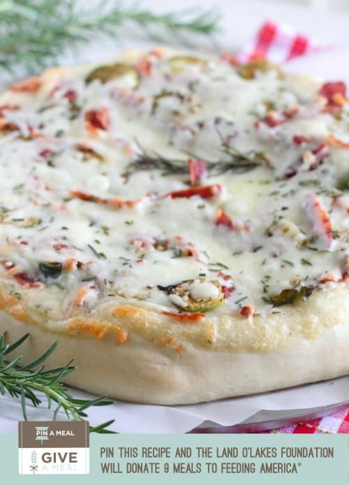 Parmesan Rosemary Brussels Sprouts and Bacon Pizza