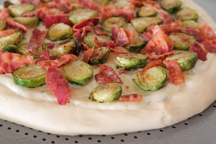 Parmesan Rosemary Brussels Sprouts and Bacon Pizza-16