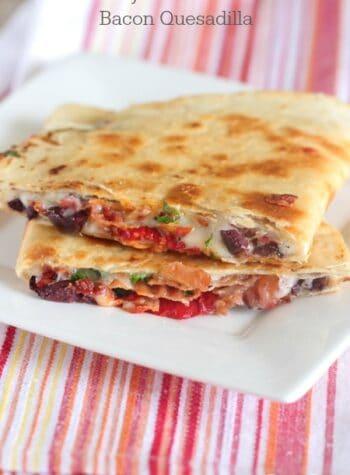 Cheesy Mediterranean Bacon Quesadilla