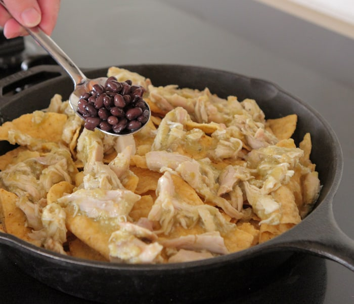 Skillet Nachos with Spicy Salsa Verde Chicken-10
