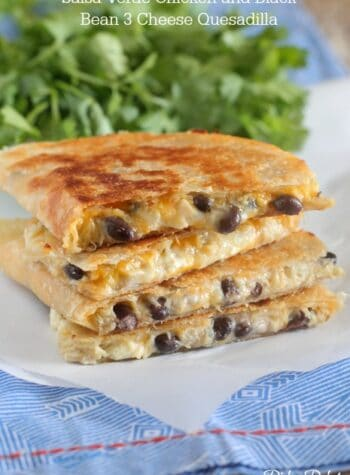 Salsa Verde Chicken and Black Bean 3 Cheese Quesadilla