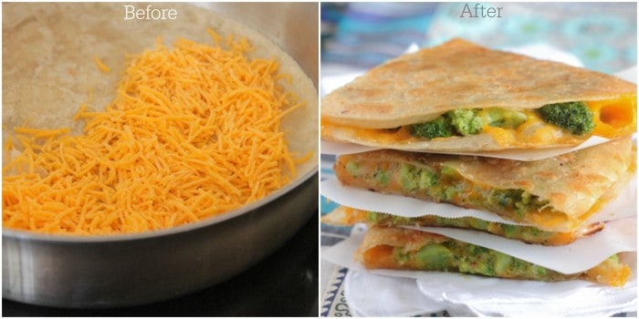 Before and After Quesadilla text