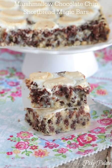 Marshmallow Chocolate Chip Shorbread Magic Bars