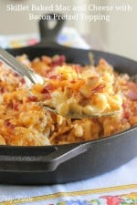 Skillet Baked Mac and Cheese with Bacon Pretzel Topping
