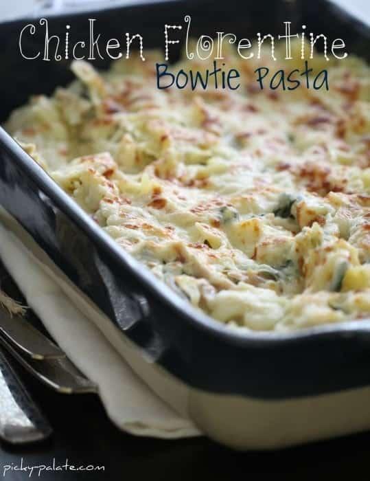 Chicken Florentine Bowtie Pasta Casserole