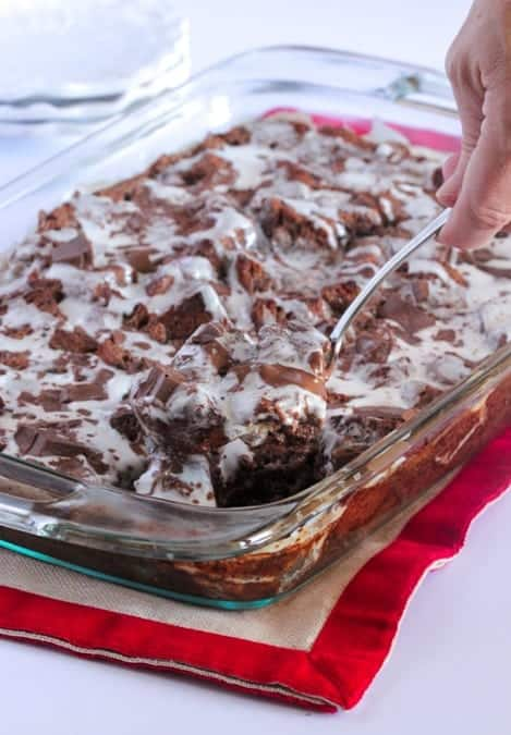 Gooey Chocolate Peppermint Bread Pudding-