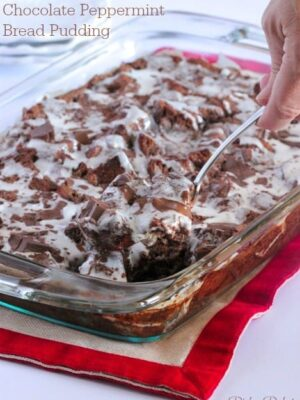 Chocolate Peppermint Bread Pudding