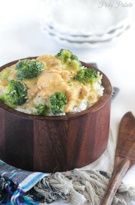 Creamy Crockpot Chicken and Broccoli over Rice