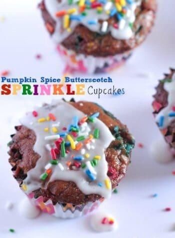 Pumpkin Spice Butterscotch Sprinkle Cupcakes