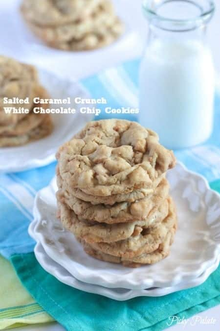 Salted Caramel Crunch White Chip Cookies