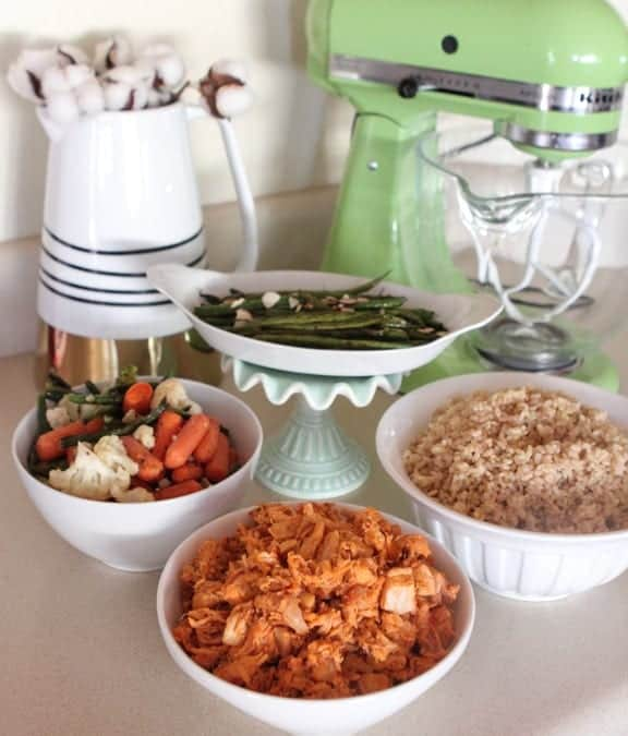 Spicy Honey Chicken Vegetable Rice Bowls