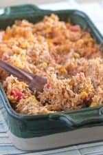 Green Chilie Chicken Enchilada Rice Bake