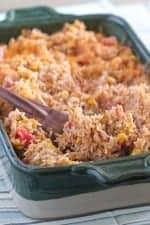 Green Chilie Chicken Enchilada Rice Bake