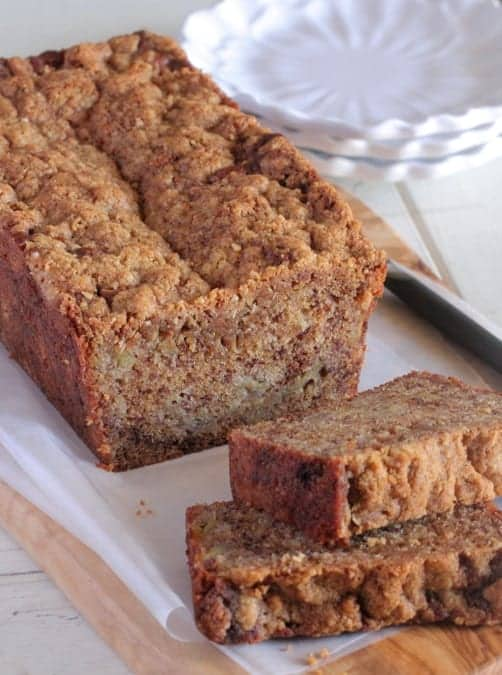 Caramelized Roasted Banana Bread with Oat Streuse