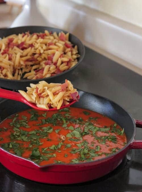 Mexi-Style Tomato Soup and Grilled Cheese Bacon Pasta-14