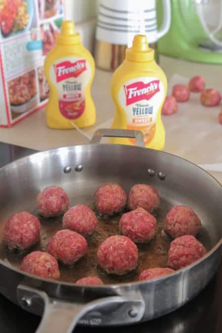 Homemade Party Meatballs with Sweet and Spicy Mustard Cream Sauce